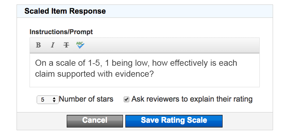 Adding a Rating Scape