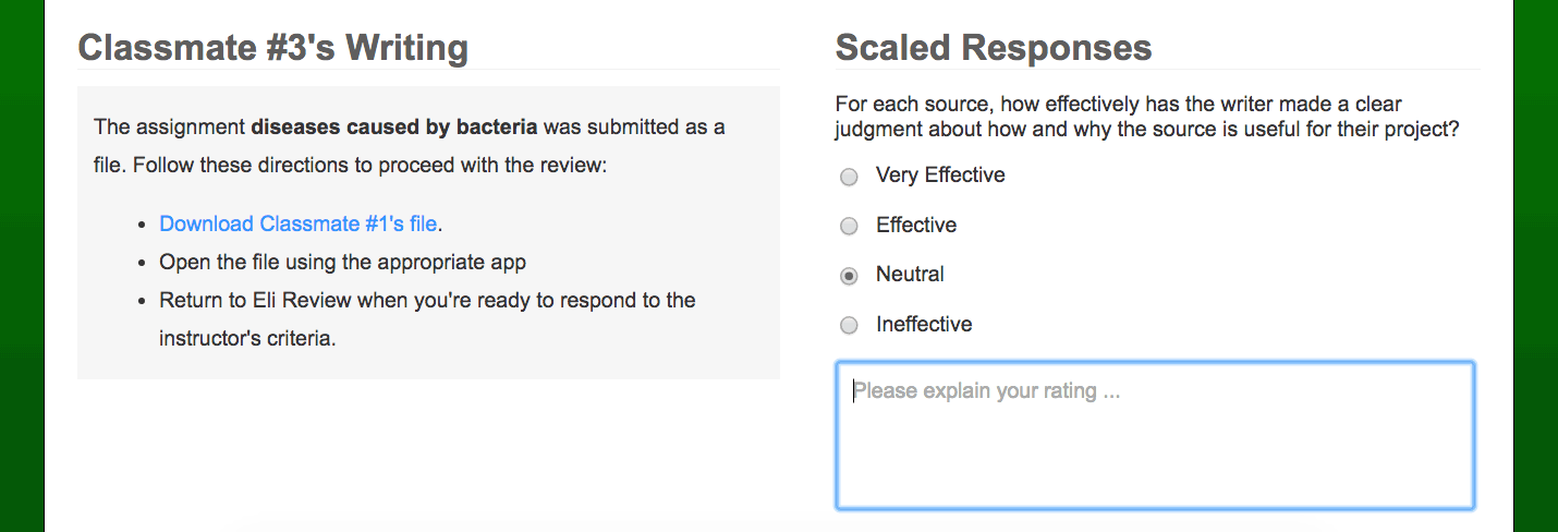 Screenshot of a review with a likert scale added.