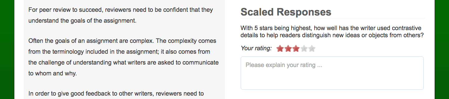 Screenshot of a review with a rating scale.