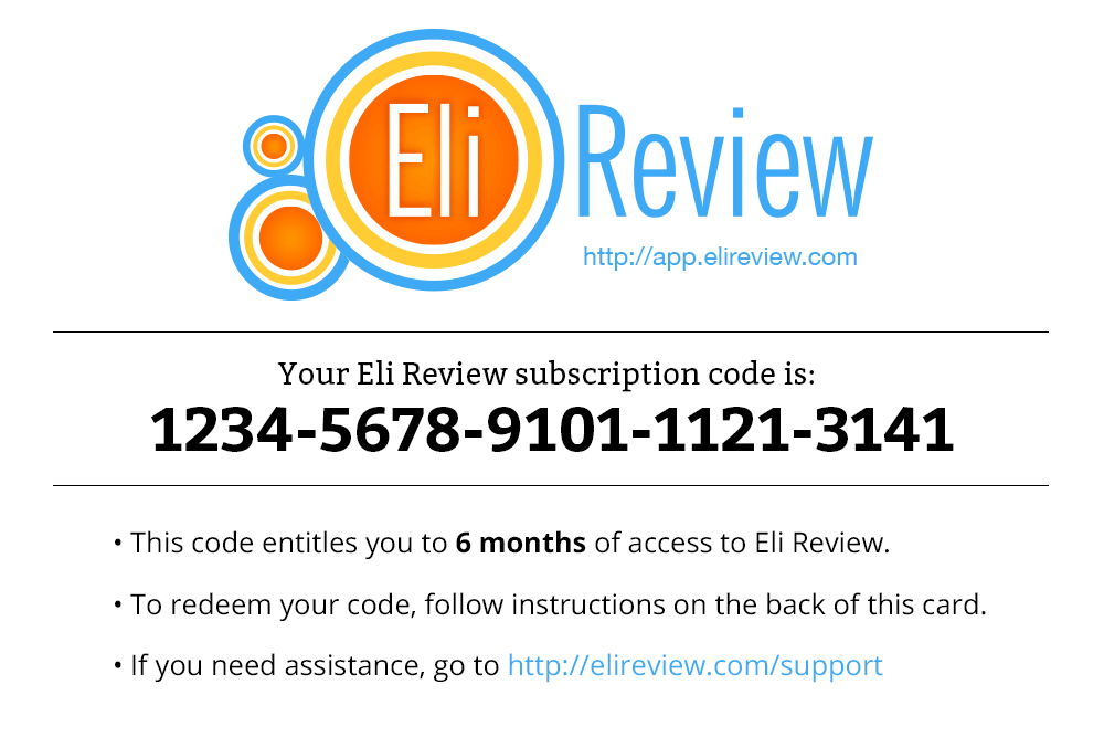 Subscription cards have a 16-digit number that can be redeemed for a full Eli Review subscription.
