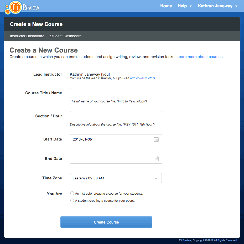 "The ""Create New Course"" feature, accessible from the Instructor Dashboard."