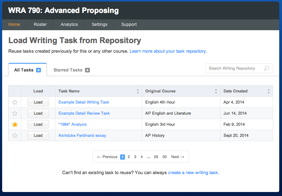 The Repository Browser for writing tasks (view is the same for review tasks).