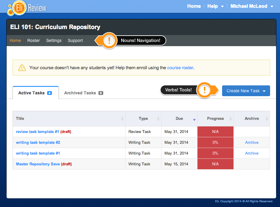 The improved course homepage streamlines navigation and task creation.