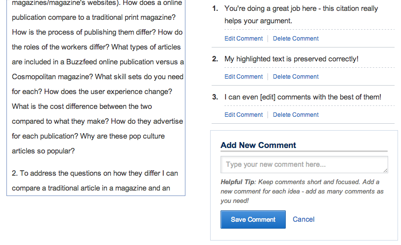 Changes to how comments work in a review - better highlighting, editing, coaching.
