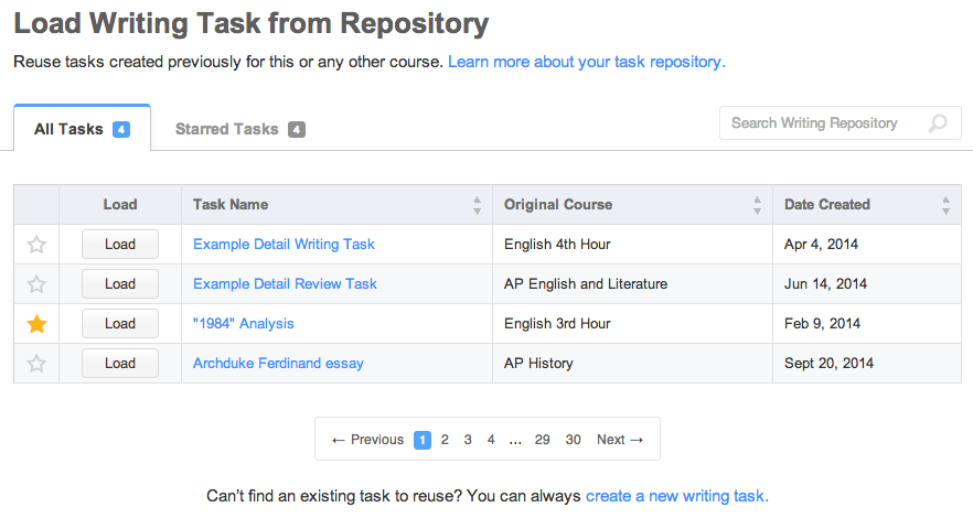 The new and improved Task Repository, with sorting, searching, and favorites.