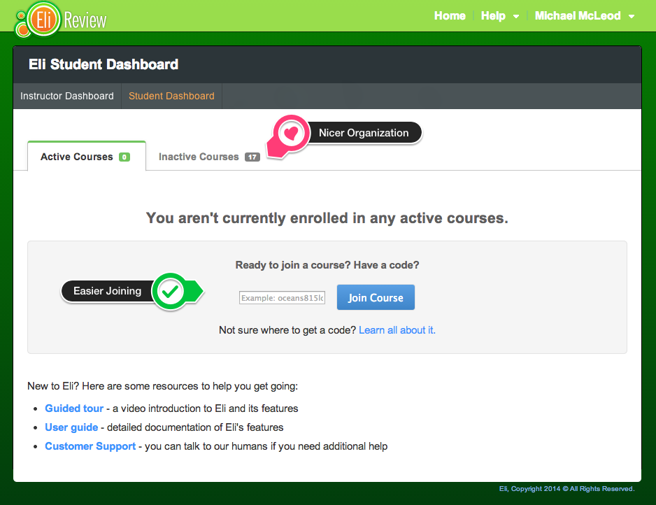 Improved Student Dashboard.