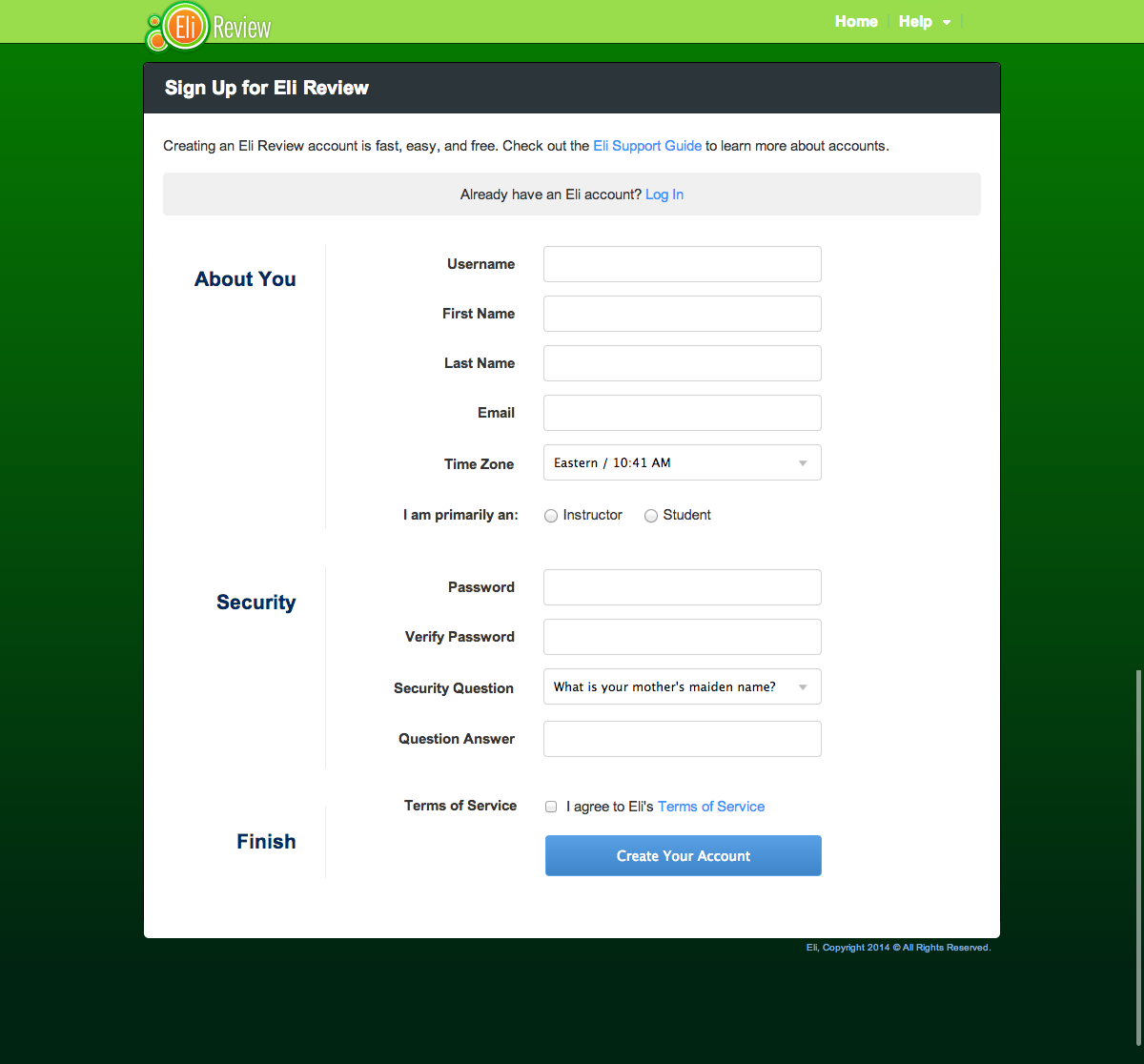 Streamlined signup form.