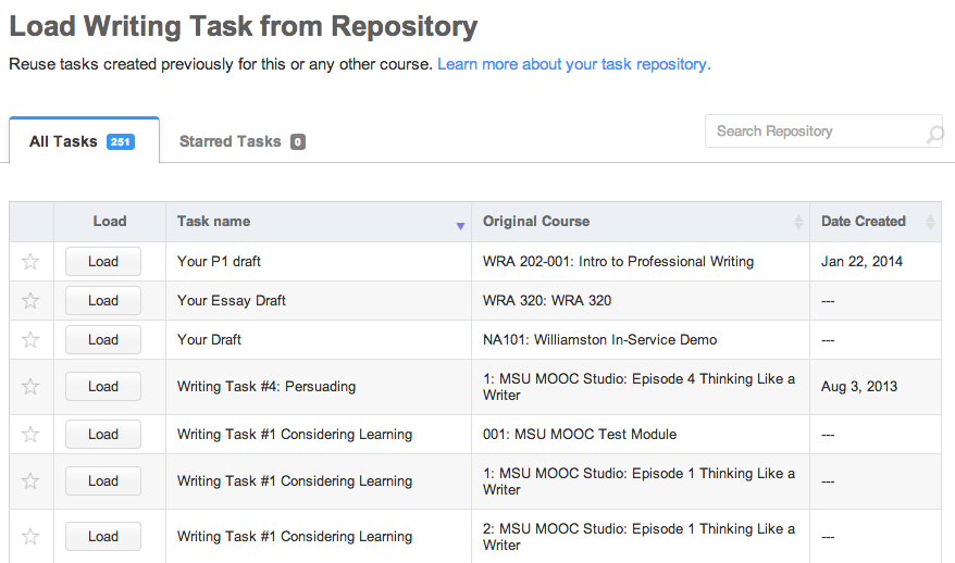 Eli's task repository comes pre-loaded with taskes and makes it easy to re-use materials between courses.