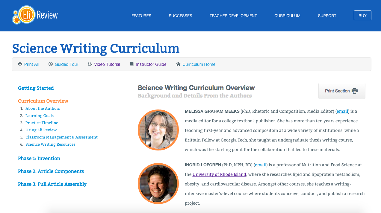 Screenshot of the Science Writing Curriculum