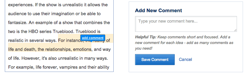Eli Review's contextual comment interface