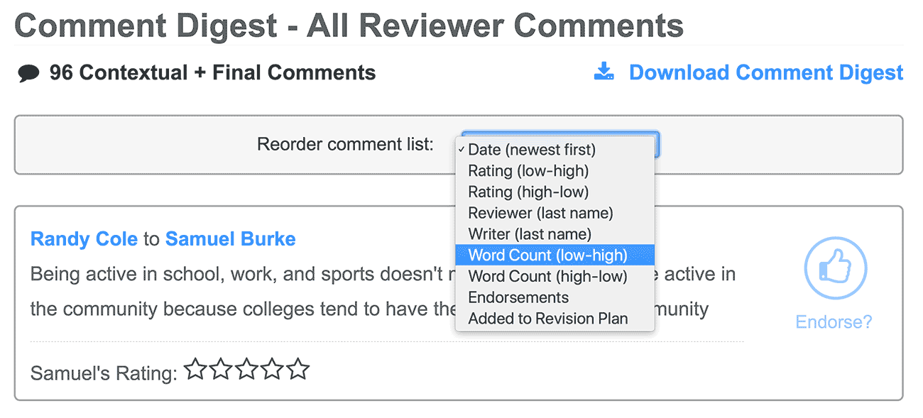 Comment digest can be sorted.