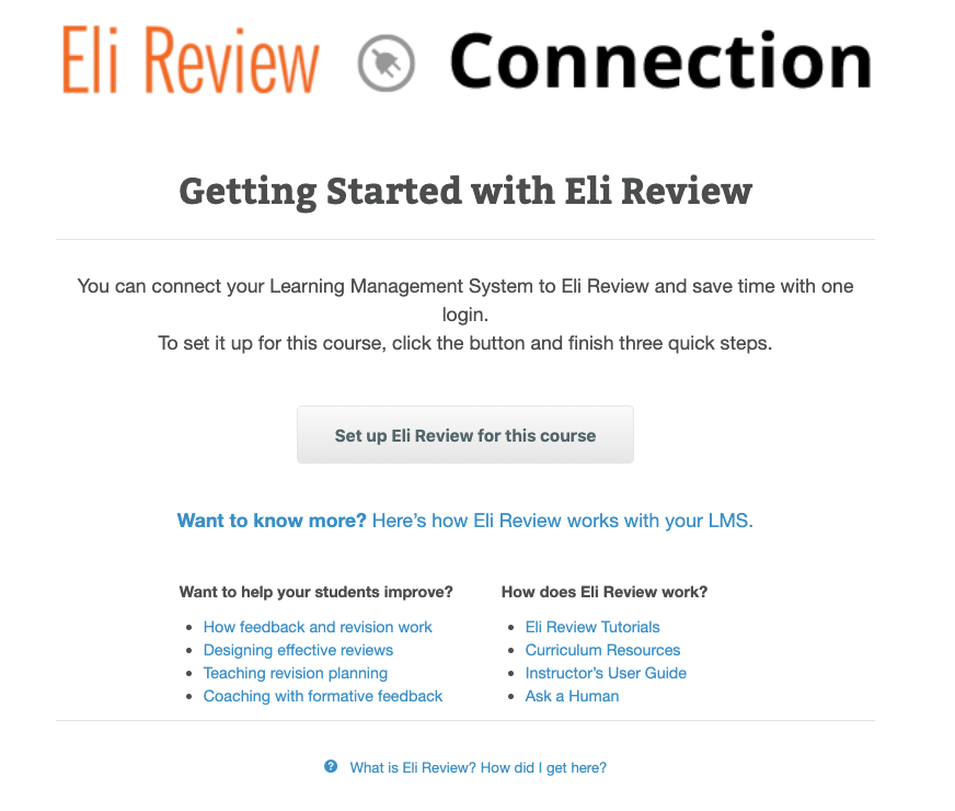 "Get Started with Eli Review by clicking the button ""Set up Eli Review for this course"""