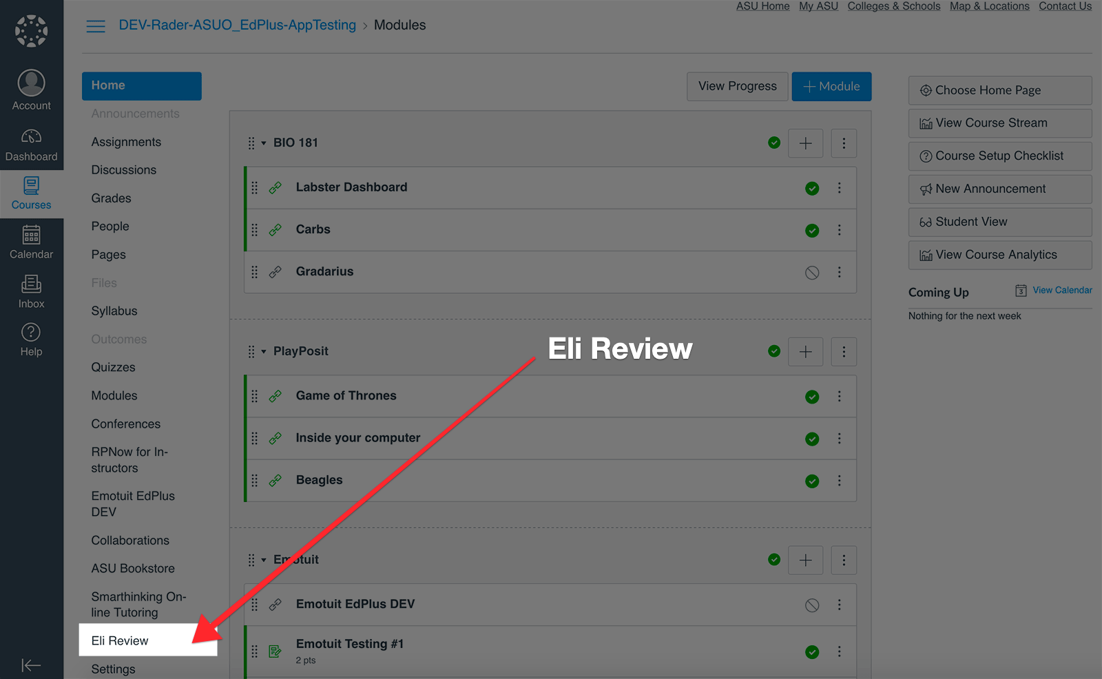 Locate Eli Review in the menu