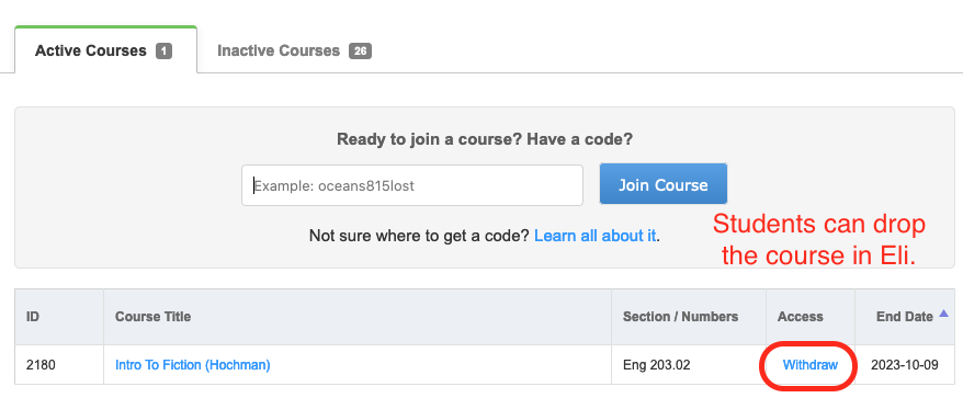 The student dashboard includes an option to withdraw from a course.