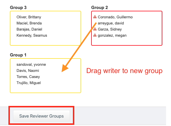 In Edit groups, drag student name to a new group and save.