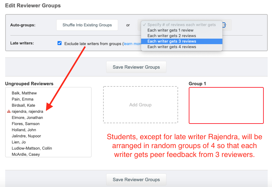 The edit group options allow instructors to arrange random groups that exclude late writers