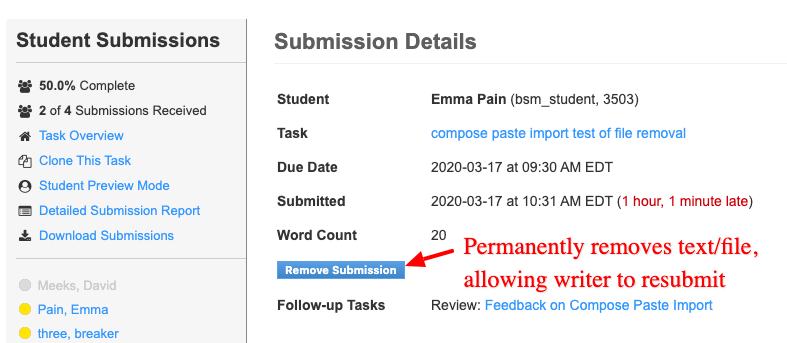 Remove submission allows writers to replace incorrect submissions.
