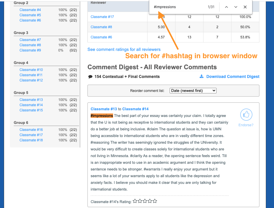 From the Review Feedback tab, scroll to the comment digest, and use the browser's search to find the #hashtag.