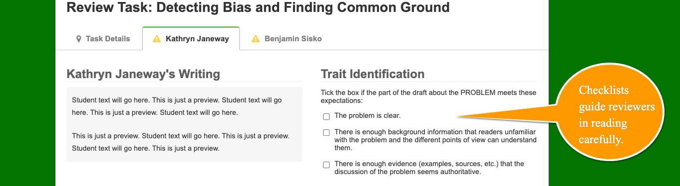 Checklist of criteria for problem