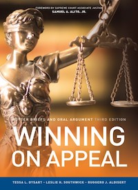 Cover of _Winning on Appeal_ text book shows Lady Justice with scales